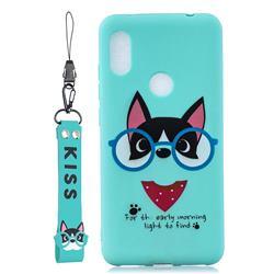 Green Glasses Dog Soft Kiss Candy Hand Strap Silicone Case for Mi Xiaomi Redmi S2 (Redmi Y2)
