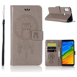 Intricate Embossing Owl Campanula Leather Wallet Case for Mi Xiaomi Redmi S2 (Redmi Y2) - Grey