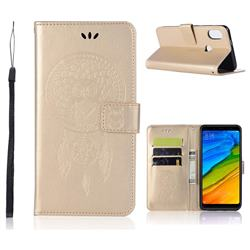 Intricate Embossing Owl Campanula Leather Wallet Case for Mi Xiaomi Redmi S2 (Redmi Y2) - Champagne