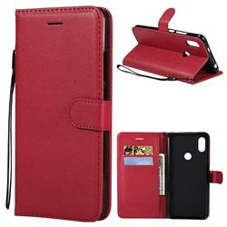 Retro Greek Classic Smooth PU Leather Wallet Phone Case for Mi Xiaomi Redmi S2 (Redmi Y2) - Red
