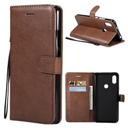 Retro Greek Classic Smooth PU Leather Wallet Phone Case for Mi Xiaomi Redmi S2 (Redmi Y2) - Brown