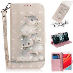 Three Squirrels 3D Painted Leather Wallet Phone Case for Mi Xiaomi Redmi S2 (Redmi Y2)