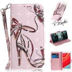 Butterfly High Heels 3D Painted Leather Wallet Phone Case for Mi Xiaomi Redmi S2 (Redmi Y2)