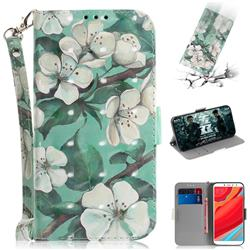 Watercolor Flower 3D Painted Leather Wallet Phone Case for Mi Xiaomi Redmi S2 (Redmi Y2)