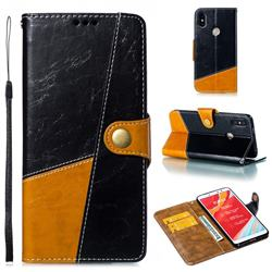 Retro Magnetic Stitching Wallet Flip Cover for Mi Xiaomi Redmi S2 (Redmi Y2) - Black