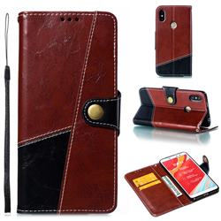 Retro Magnetic Stitching Wallet Flip Cover for Mi Xiaomi Redmi S2 (Redmi Y2) - Dark Red