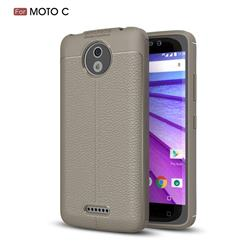 Luxury Auto Focus Litchi Texture Silicone TPU Back Cover for Motorola Moto C - Gray