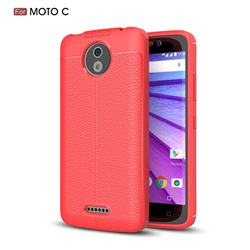 Luxury Auto Focus Litchi Texture Silicone TPU Back Cover for Motorola Moto C - Red