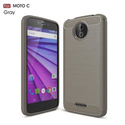 Luxury Carbon Fiber Brushed Wire Drawing Silicone TPU Back Cover for Motorola Moto C - Gray