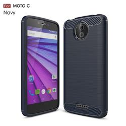 Luxury Carbon Fiber Brushed Wire Drawing Silicone TPU Back Cover for Motorola Moto C - Navy
