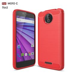 Luxury Carbon Fiber Brushed Wire Drawing Silicone TPU Back Cover for Motorola Moto C - Red
