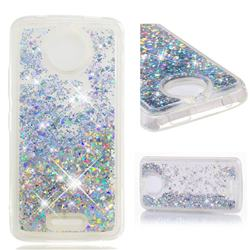 Dynamic Liquid Glitter Quicksand Sequins TPU Phone Case for Motorola Moto C - Silver