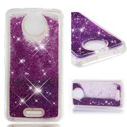 Dynamic Liquid Glitter Quicksand Sequins TPU Phone Case for Motorola Moto C - Purple