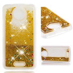 Dynamic Liquid Glitter Quicksand Sequins TPU Phone Case for Motorola Moto C - Golden