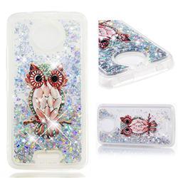 Seashell Owl Dynamic Liquid Glitter Quicksand Soft TPU Case for Motorola Moto C