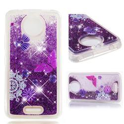 Purple Flower Butterfly Dynamic Liquid Glitter Quicksand Soft TPU Case for Motorola Moto C