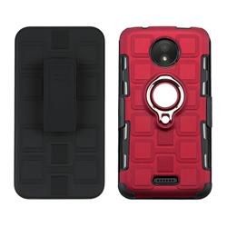 3 in 1 PC + Silicone Leather Phone Case for Motorola Moto C - Red