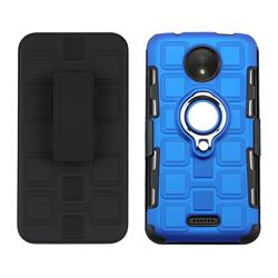 3 in 1 PC + Silicone Leather Phone Case for Motorola Moto C - Dark Blue
