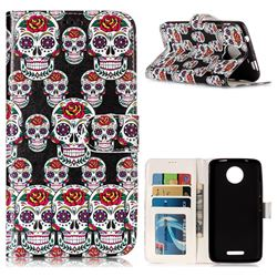 Flower Skull 3D Relief Oil PU Leather Wallet Case for Motorola Moto C