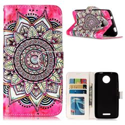 Rose Mandala 3D Relief Oil PU Leather Wallet Case for Motorola Moto C