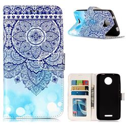 Totem Flower 3D Relief Oil PU Leather Wallet Case for Motorola Moto C