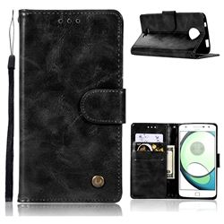 Luxury Retro Leather Wallet Case for Motorola Moto C - Black