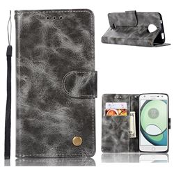 Luxury Retro Leather Wallet Case for Motorola Moto C - Gray