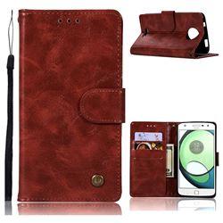 Luxury Retro Leather Wallet Case for Motorola Moto C - Wine Red