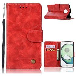 Luxury Retro Leather Wallet Case for Motorola Moto C - Red
