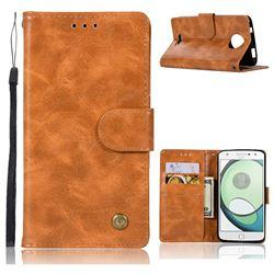 Luxury Retro Leather Wallet Case for Motorola Moto C - Golden