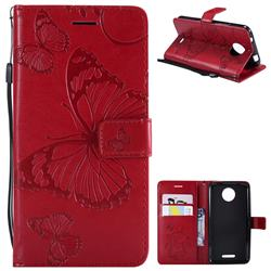 Embossing 3D Butterfly Leather Wallet Case for Motorola Moto C - Red