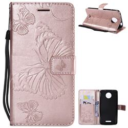 Embossing 3D Butterfly Leather Wallet Case for Motorola Moto C - Rose Gold