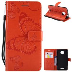 Embossing 3D Butterfly Leather Wallet Case for Motorola Moto C - Orange