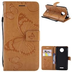 Embossing 3D Butterfly Leather Wallet Case for Motorola Moto C - Yellow