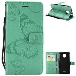 Embossing 3D Butterfly Leather Wallet Case for Motorola Moto C - Green