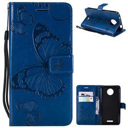 Embossing 3D Butterfly Leather Wallet Case for Motorola Moto C - Blue