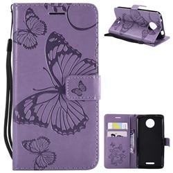 Embossing 3D Butterfly Leather Wallet Case for Motorola Moto C - Purple
