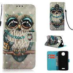 Sweet Gray Owl 3D Painted Leather Wallet Case for Motorola Moto C