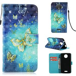 Gold Butterfly 3D Painted Leather Wallet Case for Motorola Moto C