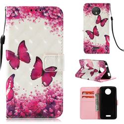 Rose Butterfly 3D Painted Leather Wallet Case for Motorola Moto C