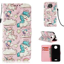 Angel Pony 3D Painted Leather Wallet Case for Motorola Moto C