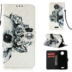Skull Flower 3D Painted Leather Wallet Case for Motorola Moto C