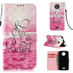 Beautiful 3D Painted Leather Wallet Case for Motorola Moto C