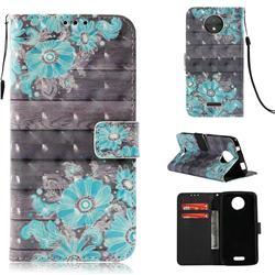 Blue Flower 3D Painted Leather Wallet Case for Motorola Moto C