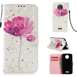 Watercolor 3D Painted Leather Wallet Case for Motorola Moto C