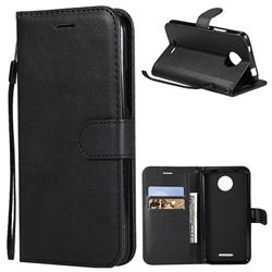 Retro Greek Classic Smooth PU Leather Wallet Phone Case for Motorola Moto C - Black