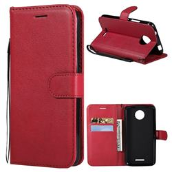 Retro Greek Classic Smooth PU Leather Wallet Phone Case for Motorola Moto C - Red