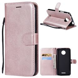 Retro Greek Classic Smooth PU Leather Wallet Phone Case for Motorola Moto C - Rose Gold