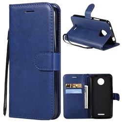 Retro Greek Classic Smooth PU Leather Wallet Phone Case for Motorola Moto C - Blue