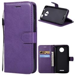 Retro Greek Classic Smooth PU Leather Wallet Phone Case for Motorola Moto C - Purple